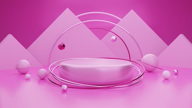 Pódio mostrando produtos rosa.