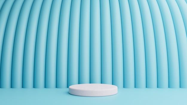 Pódio na composição azul abstrata, conceito mínimo. renderização em 3d