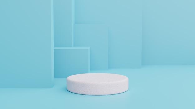 Pódio na composição azul abstrata, render 3d