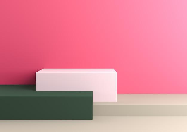 Pódio na composição de gamas paleta naturalista abstrata, render 3d