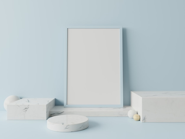 Pódio no cartaz abstrato para colocar produtos na parede azul, renderização em 3d