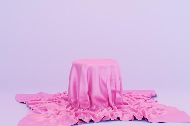 Pódio ou pedestal com pano rosa para produtos ou publicidade em fundo azul, renderização mínima de ilustração 3d