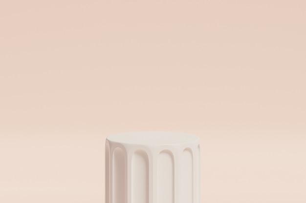 Pódio ou pedestal de coluna branca para produtos em fundo bege, renderização mínima de ilustração 3d
