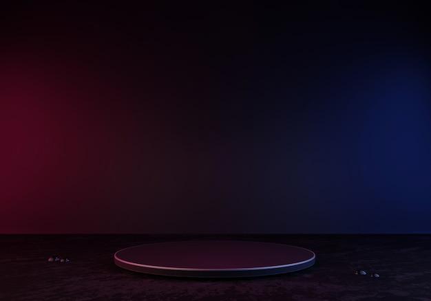 Pódio ou pedestal de renderização em 3d preto display de produto em branco em pé de luz de néon com brilho azul e rosa
