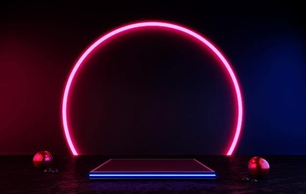 Pódio ou pedestal de renderização em 3d preto display em branco do produto em pé círculo rosa com luz de néon