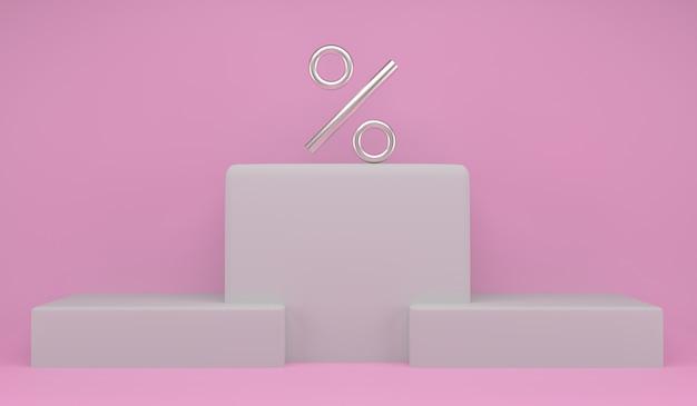 Pódio para a posição superior com símbolo de porcentagem para o conceito: campeões de porcentagem, desconto ou vencedor na competição de mercado