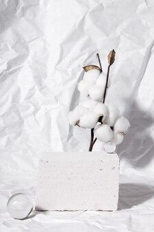 Pódio para apresentação de embalagens e cosméticos. expositor de produto com textura de concreto branco. imagem monocromática branca e limpa
