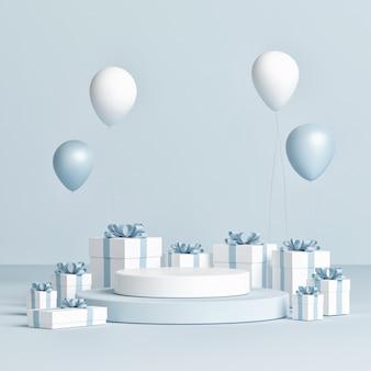 Pódio para apresentação de produtos, caixas de presente