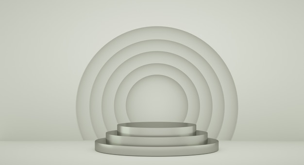 Pódio para apresentação do produto com círculos amarelos, fundo de renderização 3d