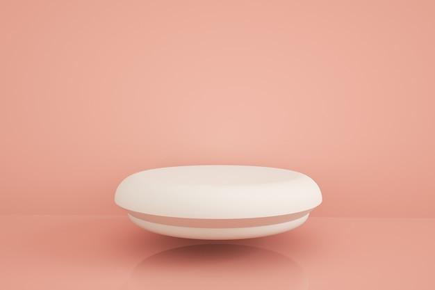 Pódio para apresentação do produto sobre fundo rosa, renderização 3d