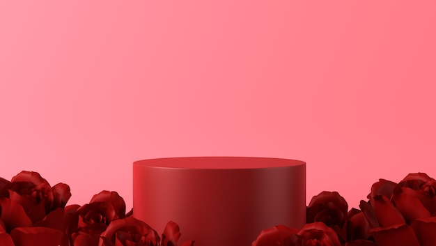 Pódio para colocação de produto em decoração de dia dos namorados com rosas