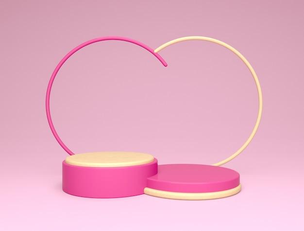 Pódio para colocação de produtos, fundo abstrato rosa