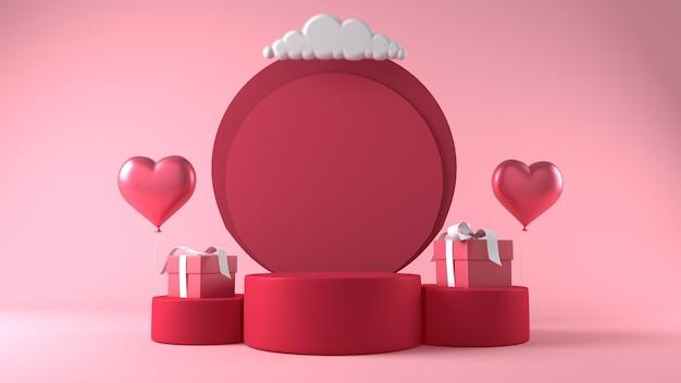Pódio para colocação de produtos no dia dos namorados com decorações