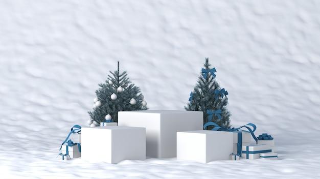 Pódio para colocação de produtos no inverno com decorações de natal