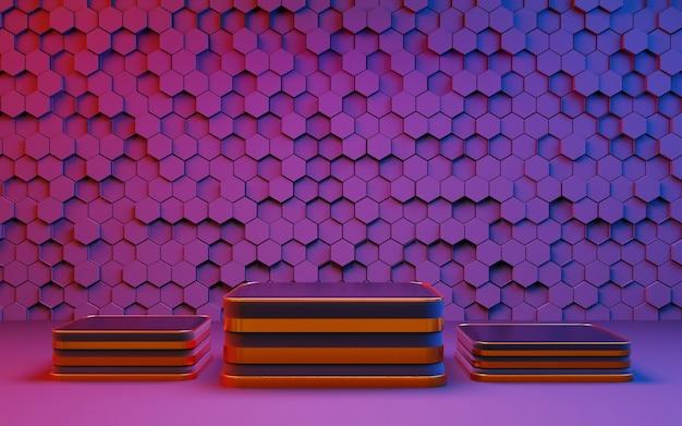 Pódio, pedestal ou plataforma de três níveis de luz colorida. cena do local de publicidade. carrinho de apresentação de produto em branco. renderização 3d.