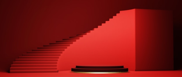 Pódio, pedestal ou plataforma, fundo para apresentação de produtos cosméticos. lugar para anúncios. 3d render geometria de palco vermelho com ouro. pódio em branco de apresentação do produto.