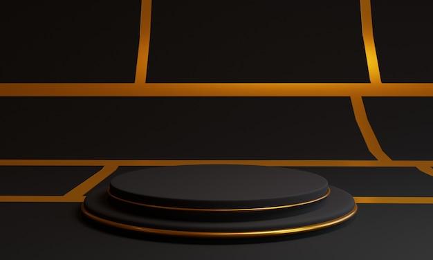 Pódio preto 3d com anéis de ouro