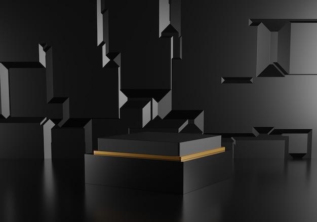 Pódio preto abstrato com decoração dourada sobre fundo preto.