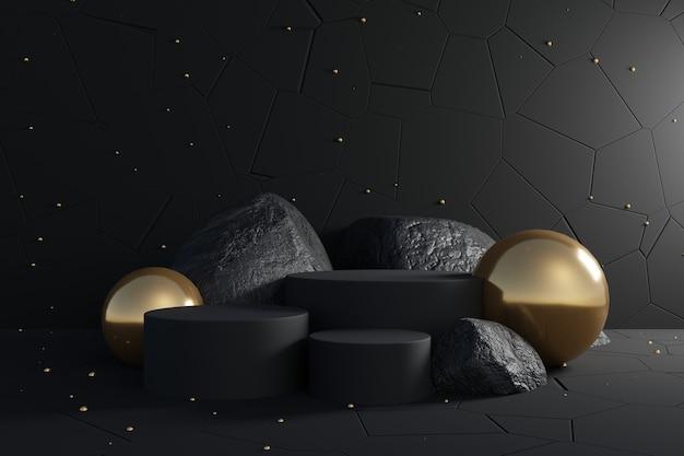 Pódio preto abstrato com pedras e decoração dourada sobre fundo preto.