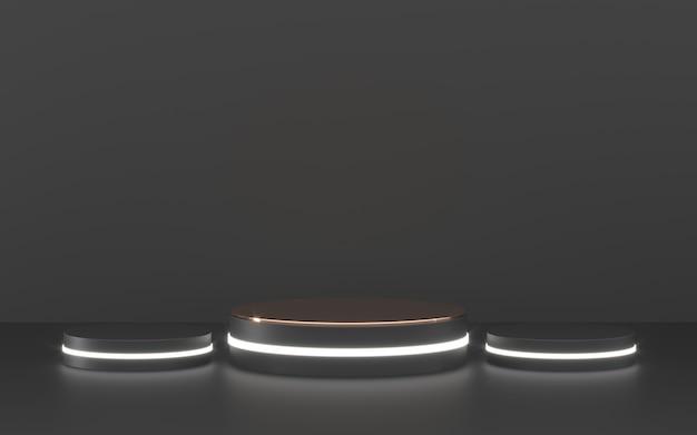 Pódio preto com iluminação para apresentação do produto