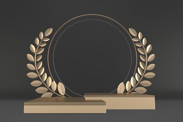 Pódio preto design abstrato preto mostrar produtos cosméticos. renderização 3d