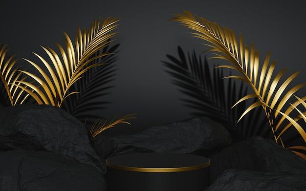 Pódio preto e dourado com composição de pedra e palma 3d render