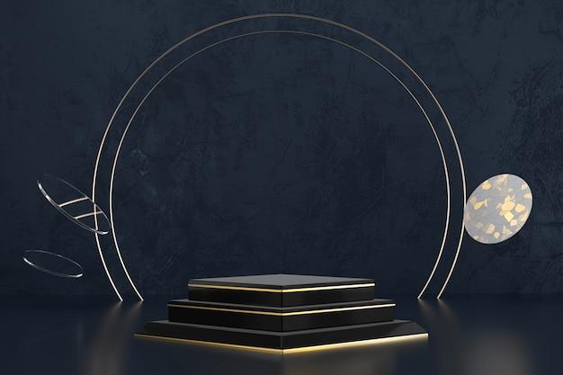 Pódio preto e dourado luxuoso abstrato da plataforma da fase, anunciando a exposição do produto, rendição 3d.