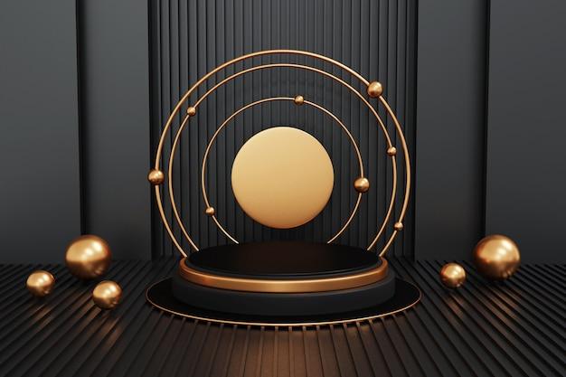 Pódio preto e dourado sobre preto, formato de pódio geométrico para produtos de exibição