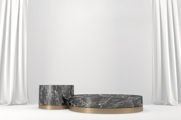 Pódio preto moderno sobre fundo branco. renderização 3d
