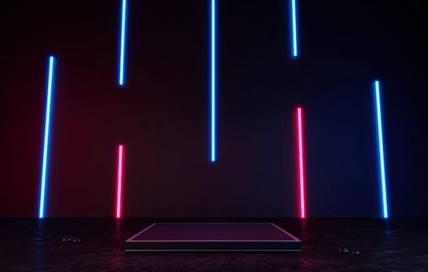 Pódio preto ou pedestal com renderização em 3d de exibição de produto em branco em pé de luz de néon laser azul e rosa