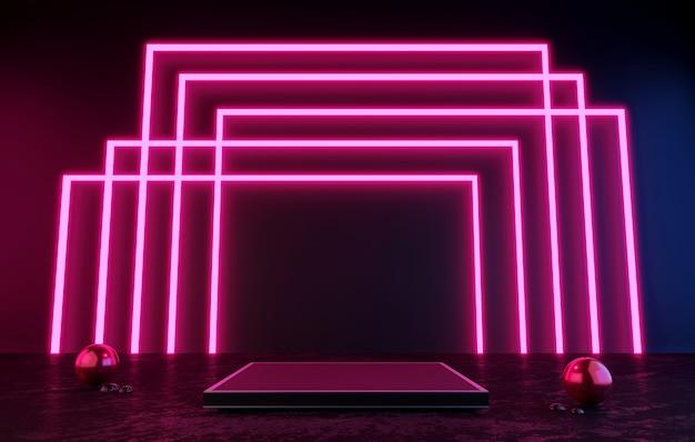 Pódio preto ou pedestal de renderização 3d display em branco do produto em pé moldura rosa luz de néon laser