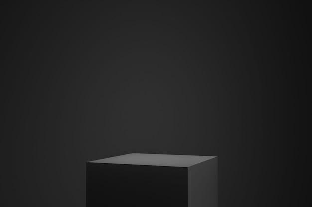 Pódio preto ou pedestal exibir em fundo escuro com plataforma de cubo.