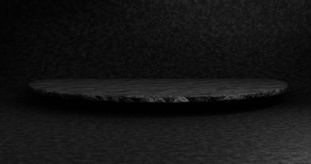 Pódio preto vazio para o produto de exibição. renderização 3d.
