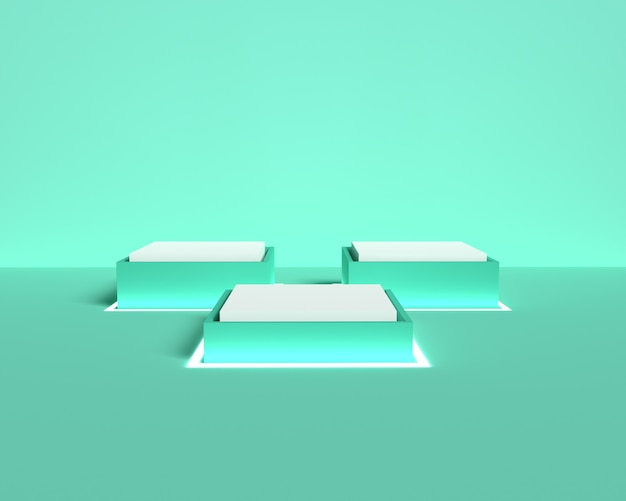 Pódio quadrado 3d verde pastel para colocação de produto com luz neon