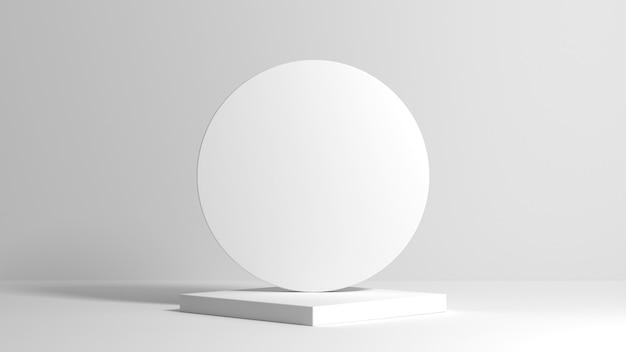 Pódio quadrado branco claro abstrato com composição arredondada nas costas