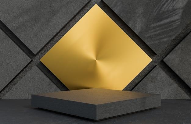 Pódio quadrado de pedra preta para apresentação de produto em estilo luxuoso de fundo de parede de pedra., modelo 3d e ilustração.