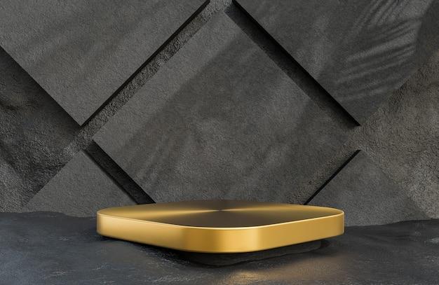 Pódio quadrado dourado para apresentação de produtos em estilo luxuoso de fundo de parede de pedra, modelo 3d e ilustração.