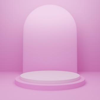 Pódio redondo 3d ou pedestal com sala de estúdio vazia azul, plano de fundo mínimo do produto, modelo de simulação para exibição, dia dos namorados, forma geométrica