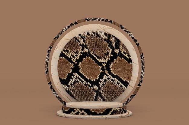 Pódio redondo bege 3d com padrão de pele de cobra ou réptil promoção de produtos cosméticos de beleza marrom