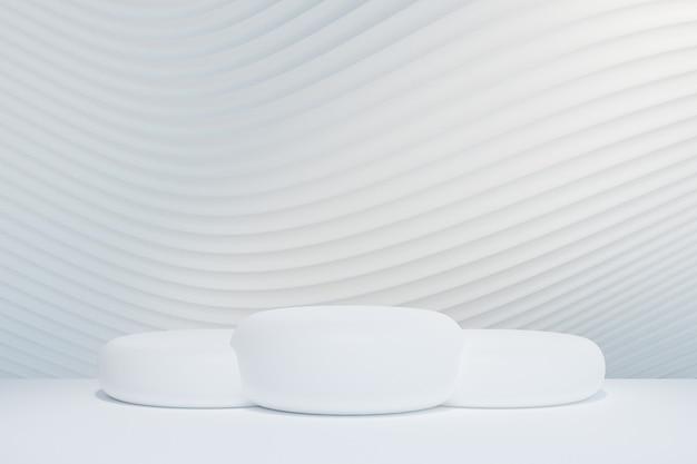 Pódio redondo branco 3d na parede de onda de curva branca. renderização de ilustração 3d.