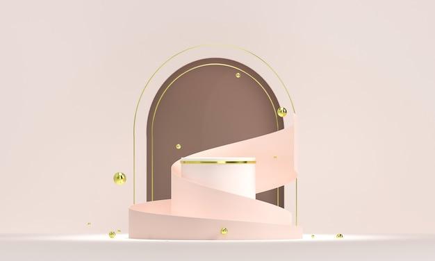 Pódio redondo com formas geométricas e elementos de ouro. pedestal em branco abstrato, plataforma para o produto.