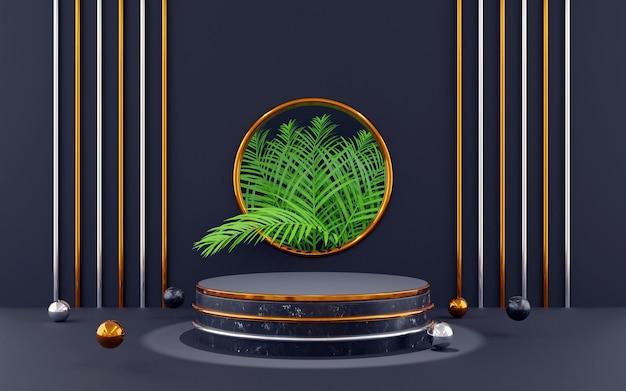 Pódio redondo de luxo azul e dourado para apresentações de produtos. renderização 3d. fundo escuro.