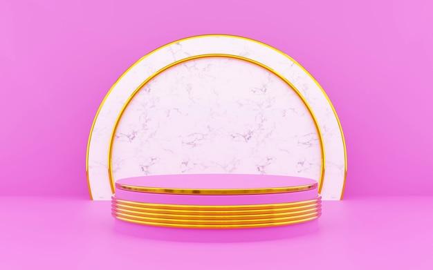 Pódio redondo de luxo rosa e dourado para apresentações de produtos. renderização 3d. fundo escuro.