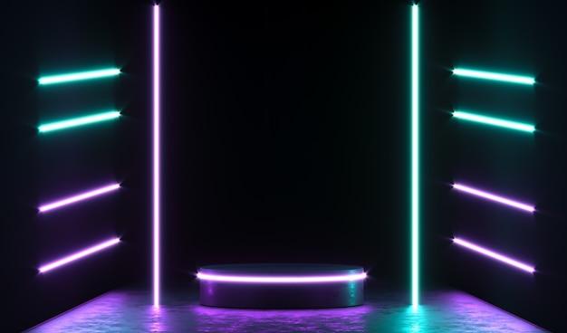 Pódio redondo de néon, pedestal ou plataforma