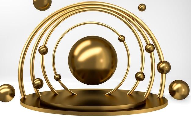 Pódio redondo de ouro com esferas douradas no limbo