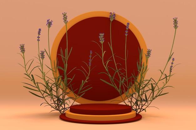 Pódio redondo laranja 3d com composição de outono de plantas de lavanda pedestal para produtos para a pele
