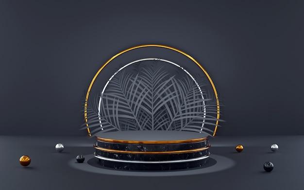 Pódio redondo luxuoso azul e dourado com folha de palmeira para apresentações de produtos. renderização 3d. fundo escuro.
