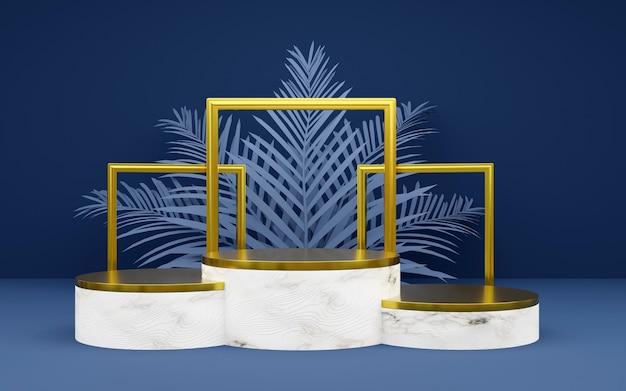 Pódio redondo luxuoso em azul e bronze com folha de palmeira e moldura para fotos para apresentações de produtos. renderização 3d. fundo escuro.