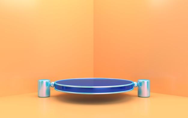 Pódio redondo, pedestal ou plataforma, iluminado por refletores de led. ilustração. pódio de luz brilhante. carrinho de produtos em branco e fundo abstrato com luz. renderização 3d