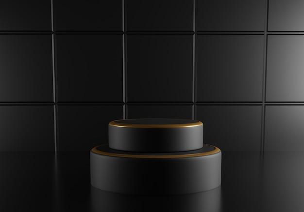 Pódio redondo preto com decoração dourada sobre fundo preto.